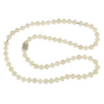 Pearl Necklace with Pave Diamond Clasp
