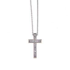 Baguette Cross Diamond Pendant