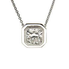 Bezel Cushion Diamond Pendant