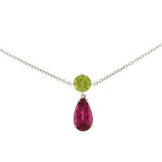 Peridot and Pink Tourmaline Drop Pendant