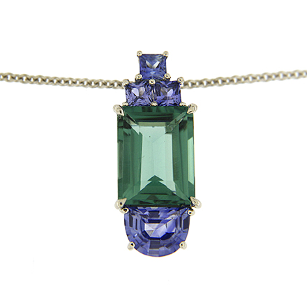 Tourmaline and Sapphire Pendant