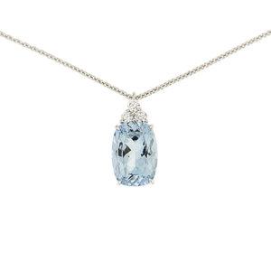 Cushion Aquamarine & Diamond Pendant
