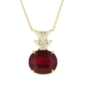 Ruby and Trapezoid Diamond Pendant