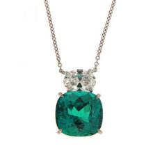 Cushion Emerald and Diamond Pendant