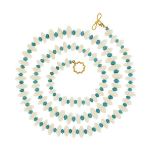 White Coral and Turquoise Beads Necklace