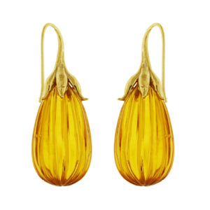 Amber Drop Earrings with French Hooks