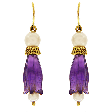 Tulip Amethyst and Pearl Earrings
