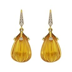 Carved Madeira Citrine Drop Earrings