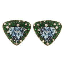 Aquamarine, Emerald and Diamond Earrings