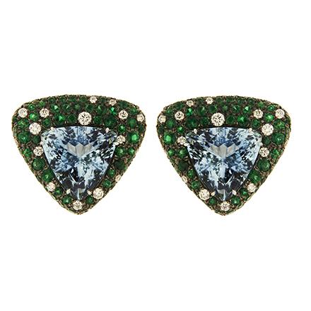 Aquamarine, Emerald and Diamond Earrings