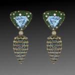 Aquamarine Pine Cone Drop Earrings