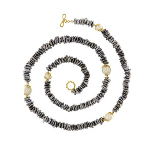 Grey Keshi Necklace with South Sea Pearls