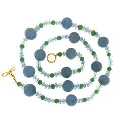 Aquamarine and Aventurine Necklace