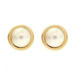 Mabe Pearl Earrings Wide Rim