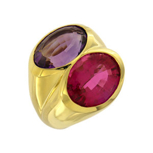 Rubellite and Amethyst Gold Ring